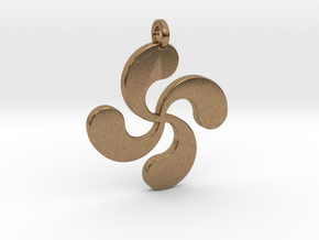 Lauburu pendant in Natural Brass
