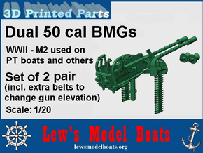 PT Boat Dual BMG for turrets, two pairs, 1/20 scal in Smooth Fine Detail Plastic: 1:20