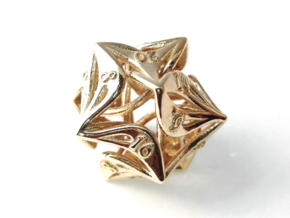 Curlicue 20-Sided Dice in Polished Brass