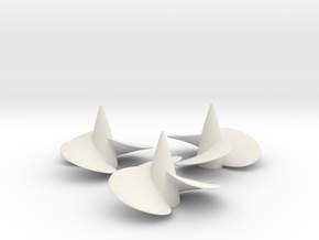 Three ship propellers f. Bismarck/Tirpitz 1/100 V2 in White Natural Versatile Plastic