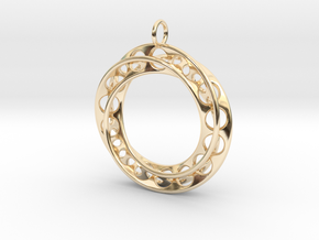 Mobius Band Ø30mm / Enhanced Loop in 14k Gold Plated Brass