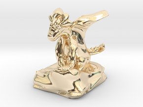 Large Pseudodragon companion - 31 mm in 14K Yellow Gold