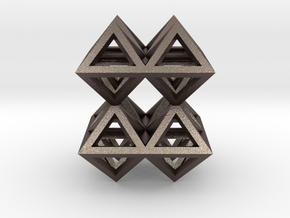 88 Pendant. Perfect Pyramid Structure. in Polished Bronzed Silver Steel