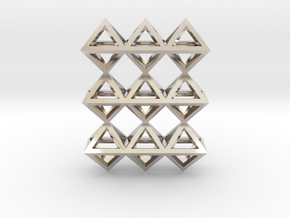 18 Pendant. Perfect Pyramid Structure. in Rhodium Plated Brass