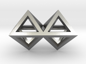 4 Pendant. Perfect Pyramid Structure. in Natural Silver