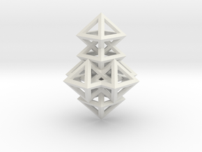 R14 Pendant. Perfect Pyramid Structure. in White Natural Versatile Plastic