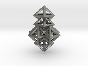 R14 Pendant. Perfect Pyramid Structure. in Natural Silver