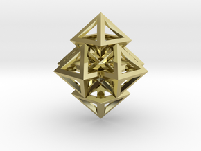 R12 Pendant. Perfect Pyramid Structure. in 18k Gold Plated Brass