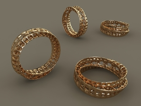 Twisted Bond Ring Size14 (23mm) in Polished Gold Steel
