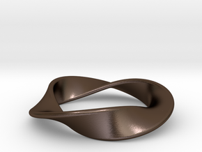 Moebius Strip Pendant (1.5 turns) in Polished Bronze Steel