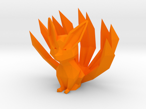 Low-poly Nine-Tailed Fox in Orange Processed Versatile Plastic