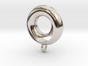 Negative Möbius Pendant in Rhodium Plated Brass
