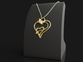 Arrow Heart Pendant in 18k Gold Plated Brass