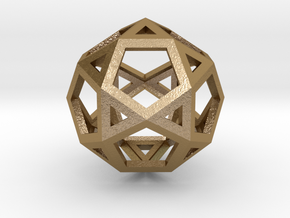 IcosiDodecahedron in Polished Gold Steel