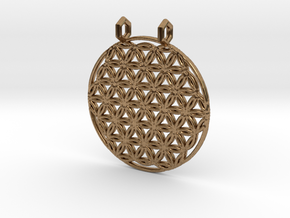 Flower Of Life Pendant (2 Loops) in Natural Brass
