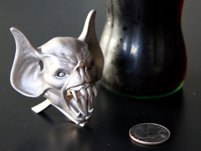 Vampire Head Bottle Opener (stand) in Polished Bronzed Silver Steel