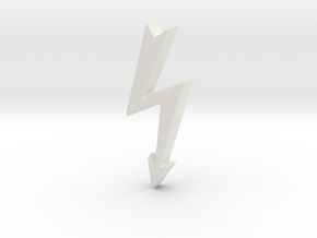 Tailed Electrical Hazard Lightning Bolt  in White Natural Versatile Plastic
