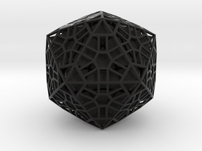 Megaminx Icosahedron Inward in Black Natural Versatile Plastic: Medium