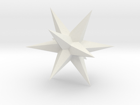 Star - Stellated Dodecahedron in White Natural Versatile Plastic: Small