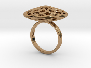 Geometric Flower Z Ring (LL) Size 7 in Polished Brass
