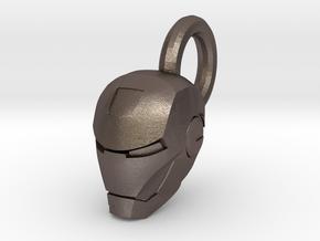 Ironman Helmet Charm in Polished Bronzed Silver Steel