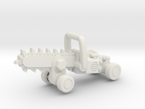 Chainsaw Car, Hot Wheels Size in White Natural Versatile Plastic