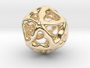 Math Art - Alien Ball Pendant in 14k Gold Plated Brass