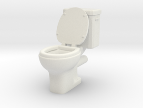 Toilet 01. 1:24 Scale in White Natural Versatile Plastic