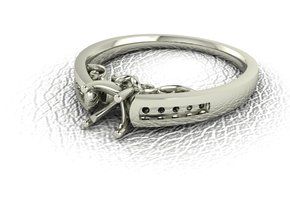 Detailed Solitaire 3 NO STONES SUPPLIED in 14k White Gold