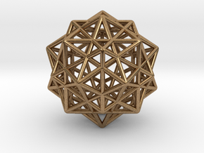 Icosahedron with Star Faced Dodecahedron in Natural Brass