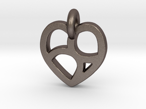 Lover's 69 Heart in Polished Bronzed Silver Steel