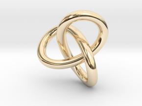 Math Art - Gordian Knot  Pendant in 14k Gold Plated Brass