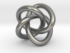 Math Art - (4,3) Torus Knot  Pendant in Natural Silver