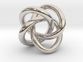 Math Art - (4,3) Torus Knot  Pendant in Rhodium Plated Brass