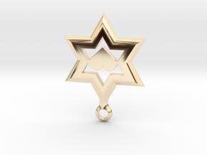 Star of David Heart Pendant in 14K Yellow Gold