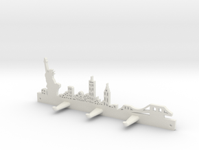 New York Skyline - Key Chain Holder Without Border in White Natural Versatile Plastic