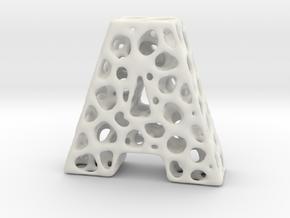 Voronoi Letter ( alphabet ) A in White Natural Versatile Plastic