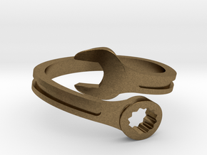 Drive Girl. Spanner ring. Speed and drive. in Natural Bronze: 10 / 61.5