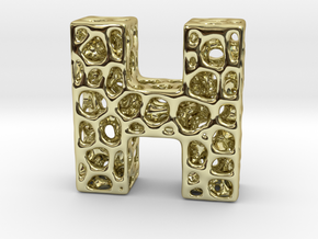 Voronoi Letter ( alphabet ) H in 18k Gold Plated Brass