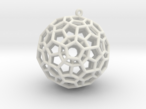 4-Dimensional Dodecahedron pendant in White Natural Versatile Plastic