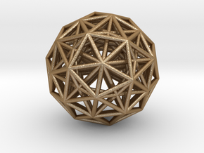 4 Dimensional Icosehedron Pendant in Matte Gold Steel