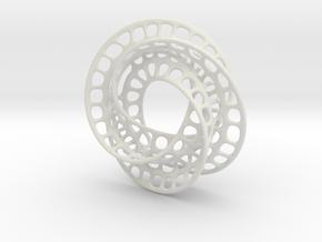 3 quarter twist Möbius strip (color) in White Natural Versatile Plastic