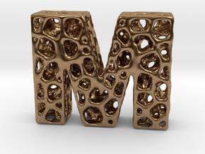 Voronoi Letter ( alphabet ) M in Natural Brass