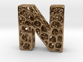 Voronoi Letter ( alphabet ) N in Natural Brass