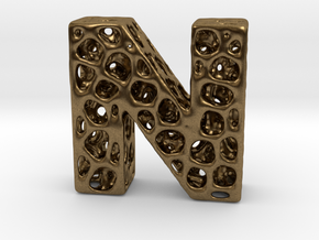 Voronoi Letter ( alphabet ) N in Natural Bronze