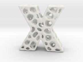 Voronoi Letter ( alphabet ) X in White Natural Versatile Plastic