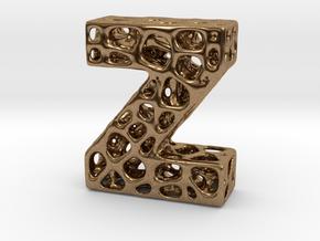 Voronoi Letter ( alphabet ) Z in Natural Brass