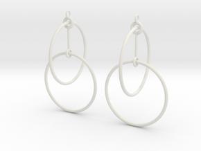 Circles Earrings 2 in White Natural Versatile Plastic