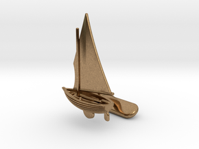 Small Sailing Boat Cufflink II in Natural Brass