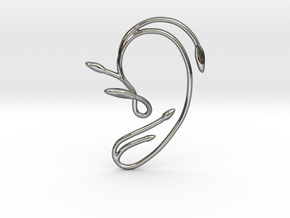 Ear Cuff of Belle (Left Ear) in Fine Detail Polished Silver